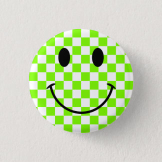 Chartreuse Checkerboard and Black Smiley Face 1 Inch Round Button