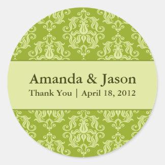 Chartreuse Damask Round Wedding Labels Sti