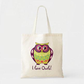 Chartreuse Fat Tawny Owl I Love Owls Tote Bag