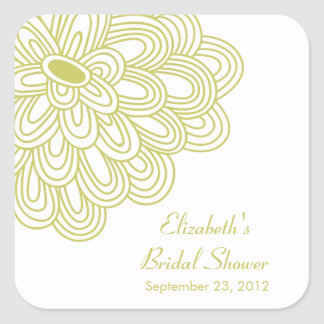 Chartreuse Floral Flowers Bridal Shower Favor Square Sticker