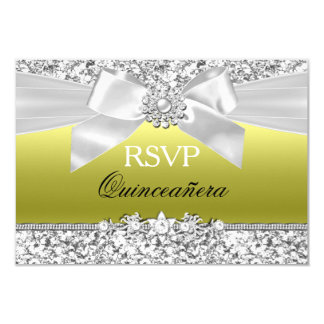 Chartreuse Glitter Bow Quinceanera RSVP Card
