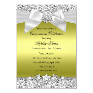 Chartreuse Glitter Jewel Bow Quinceanera Card