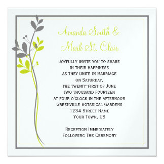 Chartreuse Gray Floral Swirls Wedding Invitation