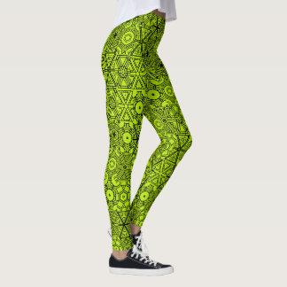 Chartreuse Green Abstract Geometric Pattern Modern Leggings