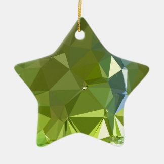 Chartreuse Green Abstract Low Polygon Background Ceramic Ornament