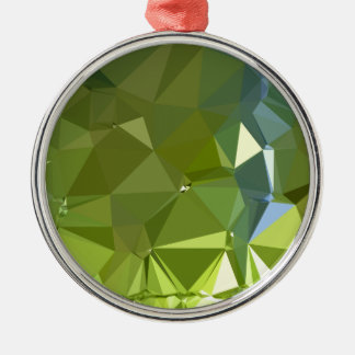 Chartreuse Green Abstract Low Polygon Background Metal Ornament