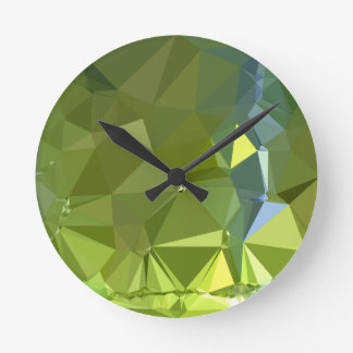 Chartreuse Green Abstract Low Polygon Background Wallclocks