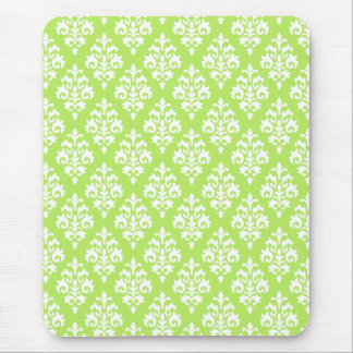 Chartreuse Green and White Damask Mousepad