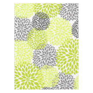 Chartreuse Green Gray Dahlia floral art Tablecloth