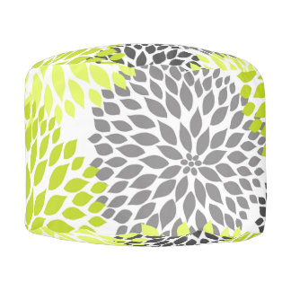 Chartreuse Green Gray Dahlias pouf accent decor