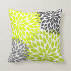 Chartreuse Green Grey Dahlia mod decor sofa pillow