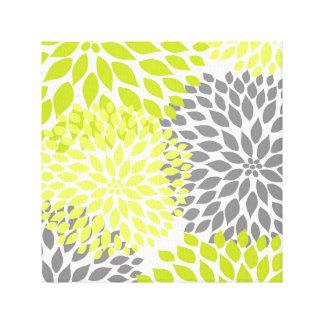 Chartreuse Green modern dahlia blossoms wall art