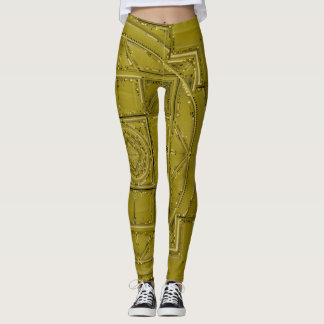 Chartreuse green olive mandala leggings
