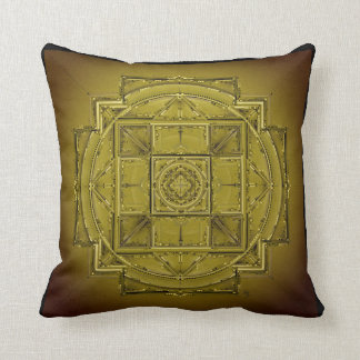 Chartreuse green olive mandala throw pillow
