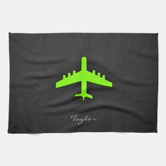 Chartreuse, Neon Green Airplane Kitchen Towel