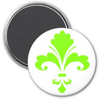 Chartreuse, Neon Green Fleur de lis 3 Inch Round Magnet
