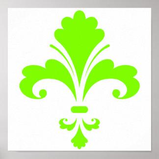 Chartreuse, Neon Green Fleur de lis Poster