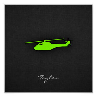 Chartreuse, Neon Green Helicopter Posters