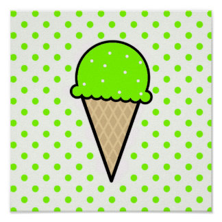 Chartreuse, Neon Green Ice Cream Cone Poster