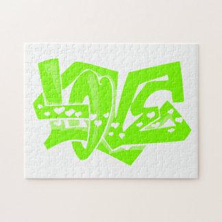 Chartreuse, Neon Green Love Graffiti Puzzles