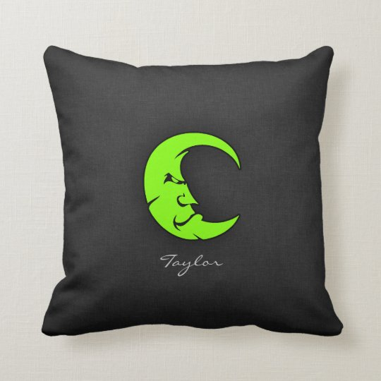 Chartreuse, Neon Green Moon Throw Pillow