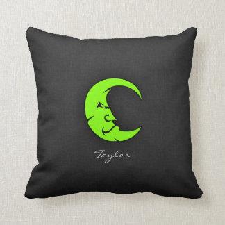 Chartreuse, Neon Green Moon Throw Pillow