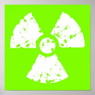 Chartreuse, Neon Green Radioactive Symbol Poster