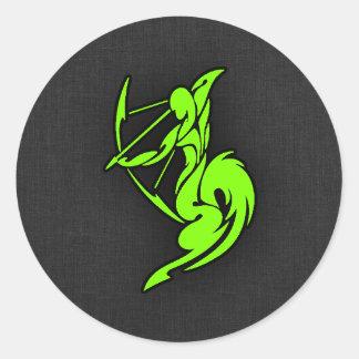 Chartreuse, Neon Green Sagittarius Classic Round Sticker