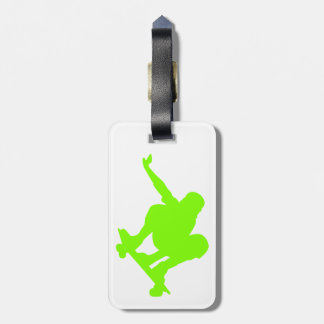 Chartreuse, Neon Green Skater Luggage Tag
