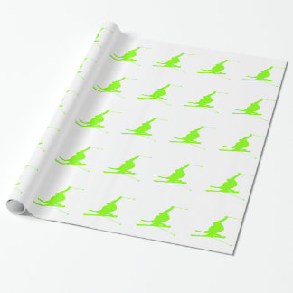 Chartreuse, Neon Green Snow Skiing Wrapping Paper