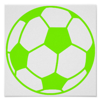 Chartreuse, Neon Green Soccer Ball Poster