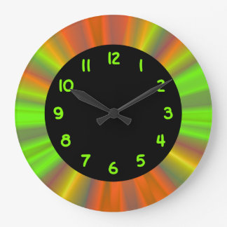 Chartreuse Numbers Black Circle Large Clock