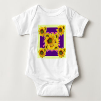 Chartreuse-Purple Floral Sunflower GIFTS Baby Bodysuit