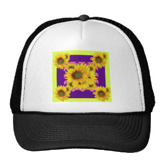 Chartreuse-Purple Floral Sunflower GIFTS Trucker Hat