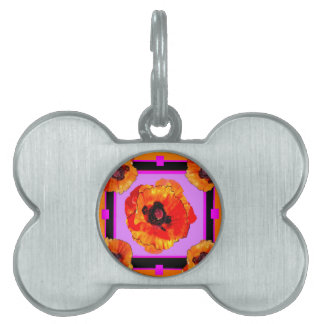 Chartreuse, Purple, Orange Poppies Art Pet ID Tags