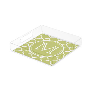 Chartreuse Quatrefoil Pattern Small Perfume Tray