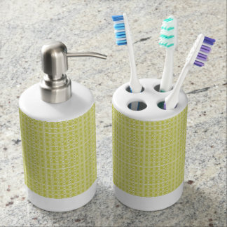 Chartreuse-Royalty-Plaid's-Traditional-Bath-Decor Soap Dispenser And Toothbrush Holder