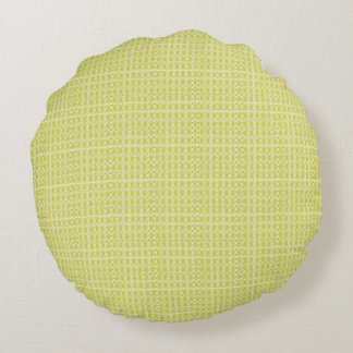 Chartreuse-Royalty-Plaid's-Traditional-Snuggle- Round Pillow