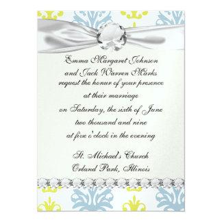 "Chartreuse slate blue white damask copy 5.5"" x 7.5"" invitation card"