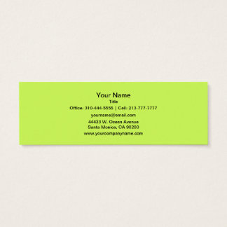 Chartreuse Solid Color Mini Business Card