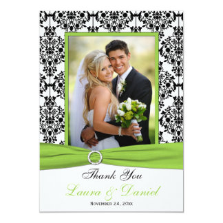 Chartreuse, White, Black Damask Thank You Card