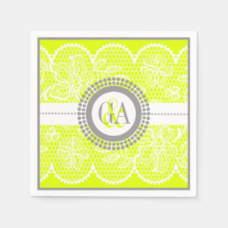 Chartreuse, white lace pattern wedding paper napkins