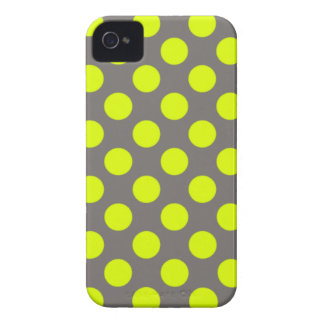 Chartreuse Yellow Charcoal Gray Polka Dots iPhone 4 Case