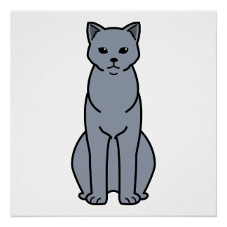 Chartreux Cat Cartoon Poster