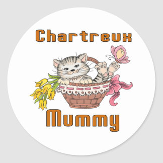 Chartreux Cat Mom Classic Round Sticker