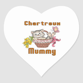 Chartreux Cat Mom Heart Sticker