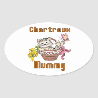 Chartreux Cat Mom Oval Sticker