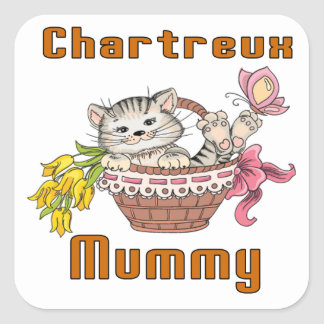 Chartreux Cat Mom Square Sticker