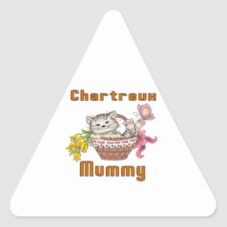 Chartreux Cat Mom Triangle Sticker