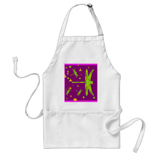 Chartruese Dragonfly Purple Fantasy   by Sharles Standard Apron